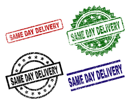 SAME DAY DELIVERY seal prints with distress surface. Black, green,red,blue vector rubber prints of SAME DAY DELIVERY text with grunge surface. Rubber seals with circle, rectangle, medal shapes. Çizim