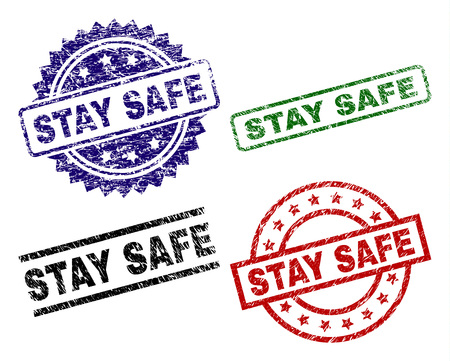STAY SAFE seal prints with distress surface. Black, green,red,blue vector rubber prints of STAY SAFE caption with dust surface. Rubber seals with round, rectangle, medallion shapes. 矢量图像