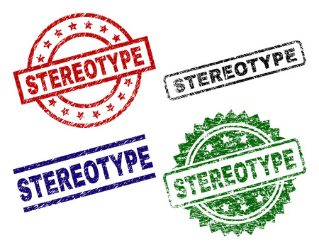 STEREOTYPE seal prints with distress texture. Black, green,red,blue vector rubber prints of STEREOTYPE caption with grunge texture. Rubber seals with circle, rectangle, medal shapes. Vectores