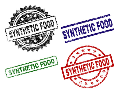 SYNTHETIC FOOD seal prints with corroded style. Black, green,red,blue vector rubber prints of SYNTHETIC FOOD tag with retro style. Rubber seals with round, rectangle, rosette shapes. Illusztráció