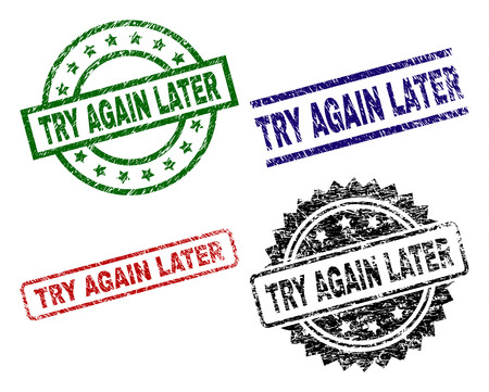 TRY AGAIN LATER seal prints with distress style. Black, green,red,blue vector rubber prints of TRY AGAIN LATER tag with retro style. Rubber seals with round, rectangle, medallion shapes.