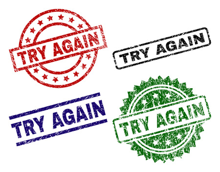 TRY AGAIN seal prints with distress style. Black, green,red,blue vector rubber prints of TRY AGAIN text with dust texture. Rubber seals with round, rectangle, medallion shapes.