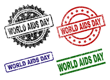 WORLD AIDS DAY seal prints with distress texture. Black, green,red,blue vector rubber prints of WORLD AIDS DAY tag with retro style. Rubber seals with circle, rectangle, medallion shapes. Illustration