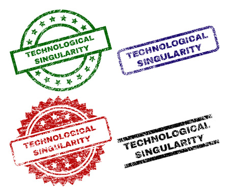 TECHNOLOGICAL SINGULARITY seal prints with distress style. Black, green,red,blue vector rubber prints of TECHNOLOGICAL SINGULARITY caption with unclean style. Rubber seals with circle, rectangle,