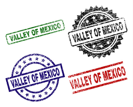 VALLEY OF MEXICO seal prints with damaged texture. Black, green,red,blue vector rubber prints of VALLEY OF MEXICO tag with corroded texture. Rubber seals with circle, rectangle, rosette shapes.