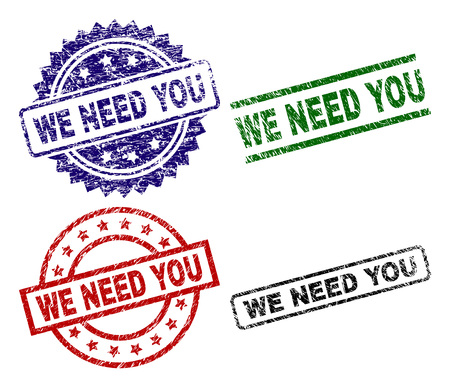 WE NEED YOU seal prints with corroded texture. Black, green,red,blue vector rubber prints of WE NEED YOU tag with retro texture. Rubber seals with circle, rectangle, medal shapes.