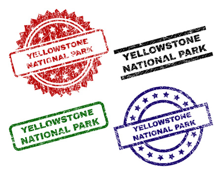 YELLOWSTONE NATIONAL PARK seal imprints with corroded texture. Black, green,red,blue vector rubber prints of YELLOWSTONE NATIONAL PARK text with scratched texture. Rubber seals with circle, rectangle,