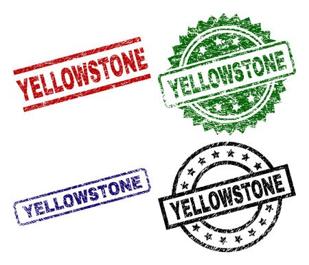 YELLOWSTONE seal prints with damaged texture. Black, green,red,blue vector rubber prints of YELLOWSTONE tag with grunge texture. Rubber seals with circle, rectangle, medal shapes.