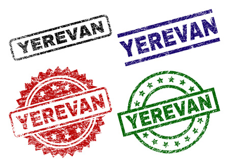 YEREVAN seal prints with damaged style. Black, green,red,blue vector rubber prints of YEREVAN label with retro style. Rubber seals with circle, rectangle, rosette shapes.