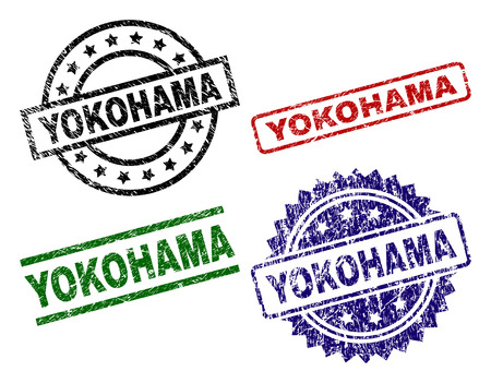 YOKOHAMA seal prints with distress texture. Black, green,red,blue vector rubber prints of YOKOHAMA text with scratched texture. Rubber seals with circle, rectangle, rosette shapes. Illustration