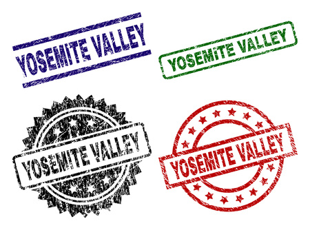 YOSEMITE VALLEY seal prints with distress style. Black, green,red,blue vector rubber prints of YOSEMITE VALLEY text with corroded style. Rubber seals with round, rectangle, rosette shapes. Ilustrace