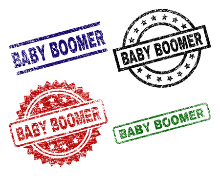 BABY BOOMER seal prints with corroded surface. Black, green,red,blue vector rubber prints of BABY BOOMER caption with corroded style. Rubber seals with round, rectangle, rosette shapes.
