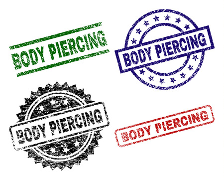 BODY PIERCING seal prints with distress surface. Black, green,red,blue vector rubber prints of BODY PIERCING tag with dust surface. Rubber seals with circle, rectangle, medallion shapes. 矢量图像