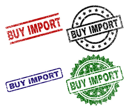 BUY IMPORT seal imprints with damaged style. Black, green,red,blue vector rubber prints of BUY IMPORT text with unclean style. Rubber seals with round, rectangle, rosette shapes. Stock Illustratie