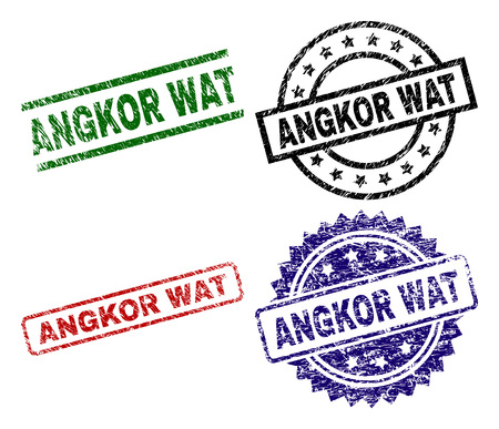 ANGKOR WAT seal prints with corroded texture. Black, green,red,blue vector rubber prints of ANGKOR WAT title with grunge surface. Rubber seals with round, rectangle, medallion shapes. Иллюстрация
