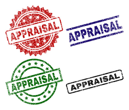 APPRAISAL seal prints with corroded style. Black, green,red,blue vector rubber prints of APPRAISAL caption with corroded style. Rubber seals with circle, rectangle, rosette shapes.