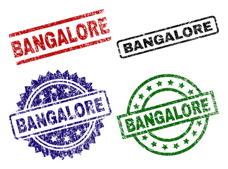 BANGALORE seal prints with damaged texture. Black, green,red,blue vector rubber prints of BANGALORE label with grunge texture. Rubber seals with circle, rectangle, medallion shapes.