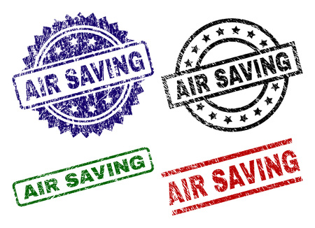 AIR SAVING seal prints with corroded surface. Black, green,red,blue vector rubber prints of AIR SAVING tag with scratched surface. Rubber seals with round, rectangle, rosette shapes.