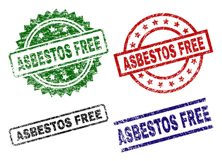ASBESTOS FREE seal prints with damaged texture. Black, green,red,blue vector rubber prints of ASBESTOS FREE caption with corroded texture. Rubber seals with round, rectangle, medal shapes.