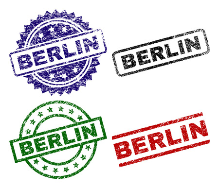 BERLIN seal prints with corroded style. Black, green,red,blue vector rubber prints of BERLIN caption with scratched style. Rubber seals with round, rectangle, rosette shapes. Standard-Bild - 110256691