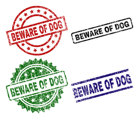 BEWARE OF DOG seal prints with distress texture. Black, green,red,blue vector rubber prints of BEWARE OF DOG text with corroded texture. Rubber seals with circle, rectangle, medallion shapes.