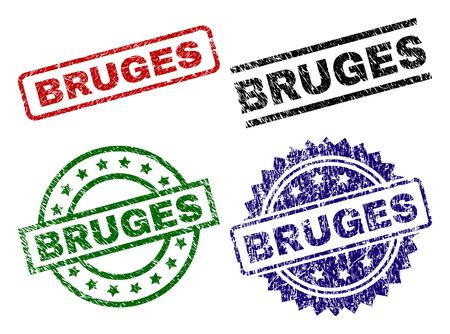 BRUGES seal prints with damaged texture. Black, green,red,blue vector rubber prints of BRUGES caption with scratched texture. Rubber seals with circle, rectangle, rosette shapes.