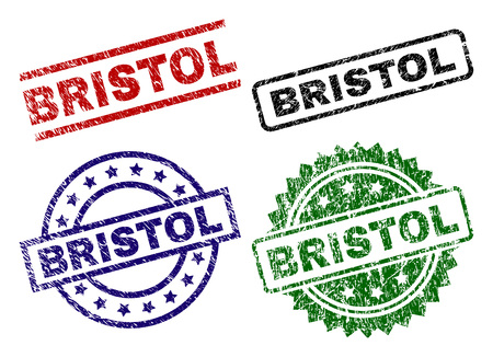 BRISTOL seal prints with corroded texture. Black, green,red,blue vector rubber prints of BRISTOL label with dust texture. Rubber seals with circle, rectangle, rosette shapes.