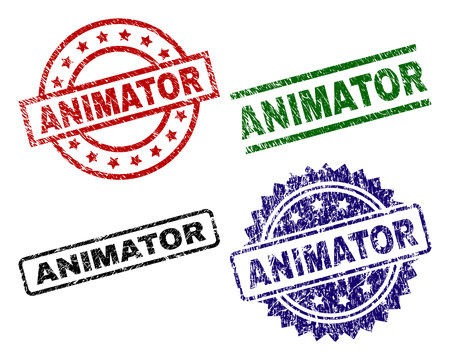 ANIMATOR seal prints with damaged surface. Black, green,red,blue vector rubber prints of ANIMATOR text with retro surface. Rubber seals with circle, rectangle, medallion shapes.