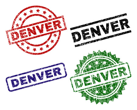 DENVER seal stamps with corroded texture. Black, green,red,blue vector rubber prints of DENVER label with grunge texture. Rubber seals with round, rectangle, medallion shapes.