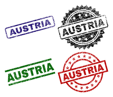 AUSTRIA seal imprints with corroded surface. Black, green,red,blue vector rubber prints of AUSTRIA text with corroded surface. Rubber seals with circle, rectangle, medallion shapes.