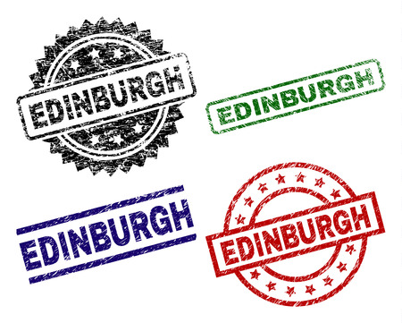 EDINBURGH seal stamps with damaged surface. Black, green,red,blue vector rubber prints of EDINBURGH title with corroded surface. Rubber seals with circle, rectangle, medal shapes. Vettoriali