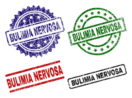 BULIMIA NERVOSA seal prints with corroded style. Black, green,red,blue vector rubber prints of BULIMIA NERVOSA label with corroded surface. Rubber seals with circle, rectangle, rosette shapes. Illustration