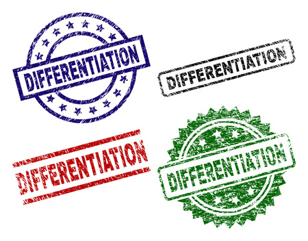 DIFFERENTIATION seal imprints with corroded texture. Black, green,red,blue vector rubber prints of DIFFERENTIATION label with corroded style. Rubber seals with circle, rectangle, rosette shapes.