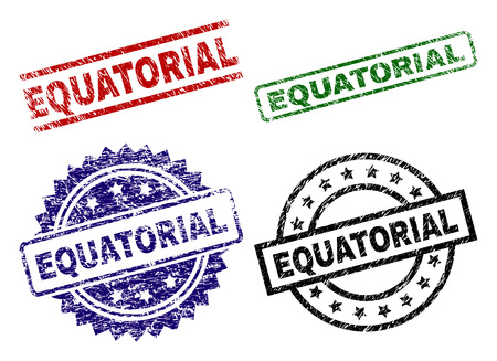 EQUATORIAL seal prints with damaged surface. Black, green,red,blue vector rubber prints of EQUATORIAL text with scratched surface. Rubber seals with circle, rectangle, medallion shapes.