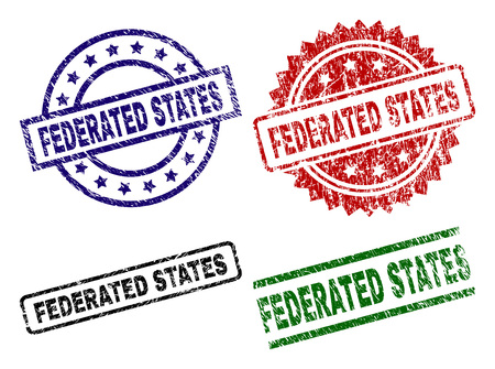 FEDERATED STATES seal prints with corroded style. Black, green,red,blue vector rubber prints of FEDERATED STATES tag with grunge style. Rubber seals with round, rectangle, medal shapes.