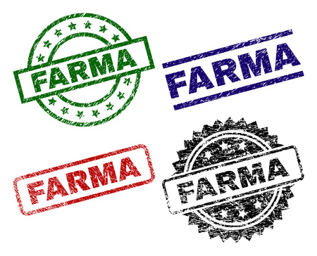 FARMA seal prints with corroded style. Black, green,red,blue vector rubber prints of FARMA label with unclean style. Rubber seals with circle, rectangle, medallion shapes.
