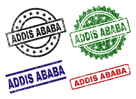 ADDIS ABABA seal prints with corroded surface. Black, green,red,blue vector rubber prints of ADDIS ABABA caption with corroded surface. Rubber seals with round, rectangle, rosette shapes. Illustration