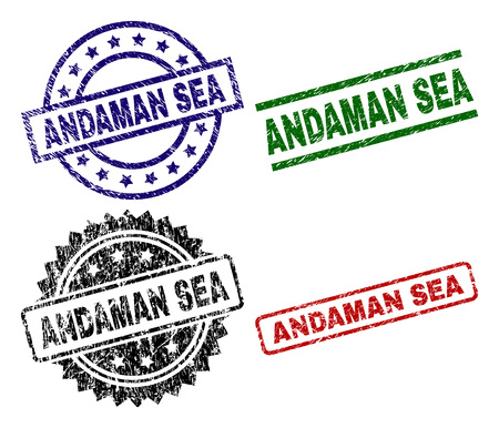 ANDAMAN SEA seal prints with distress surface. Black, green,red,blue vector rubber prints of ANDAMAN SEA title with dust surface. Rubber seals with round, rectangle, medallion shapes. Иллюстрация