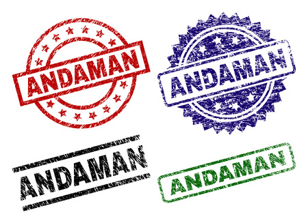 ANDAMAN seal imprints with corroded surface. Black, green,red,blue vector rubber prints of ANDAMAN title with corroded surface. Rubber seals with round, rectangle, rosette shapes.