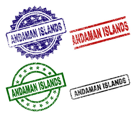 ANDAMAN ISLANDS seal prints with distress style. Black, green,red,blue vector rubber prints of ANDAMAN ISLANDS caption with grunge texture. Rubber seals with circle, rectangle, medal shapes. Иллюстрация
