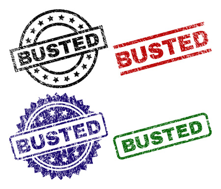 BUSTED seal prints with corroded texture. Black, green,red,blue vector rubber prints of BUSTED tag with grunge texture. Rubber seals with round, rectangle, medal shapes. Illustration
