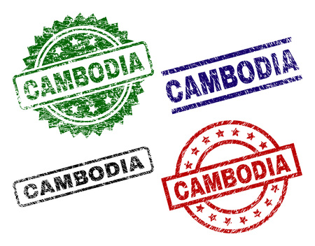 CAMBODIA seal prints with damaged style. Black, green,red,blue vector rubber prints of CAMBODIA tag with retro style. Rubber seals with round, rectangle, medallion shapes. 向量圖像