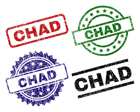 CHAD seal imprints with corroded texture. Black, green,red,blue vector rubber prints of CHAD tag with corroded texture. Rubber seals with round, rectangle, medallion shapes.