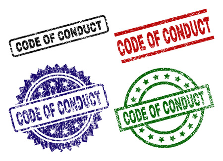 CODE OF CONDUCT seal prints with corroded style. Black, green,red,blue vector rubber prints of CODE OF CONDUCT title with corroded style. Rubber seals with circle, rectangle, medal shapes. Illustration
