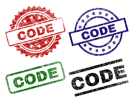 CODE seal prints with corroded style. Black, green,red,blue vector rubber prints of CODE label with corroded surface. Rubber seals with round, rectangle, rosette shapes.