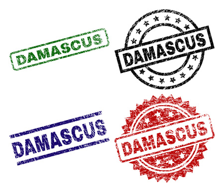 DAMASCUS seal prints with distress surface. Black, green,red,blue vector rubber prints of DAMASCUS tag with corroded surface. Rubber seals with circle, rectangle, medal shapes.