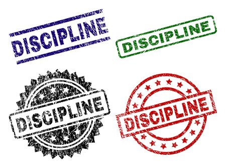 DISCIPLINE seal prints with damaged texture. Black, green,red,blue vector rubber prints of DISCIPLINE title with retro texture. Rubber seals with circle, rectangle, medallion shapes.