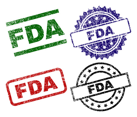 FDA seal imprints with distress texture. Black, green,red,blue vector rubber prints of FDA caption with corroded texture. Rubber seals with circle, rectangle, medallion shapes.