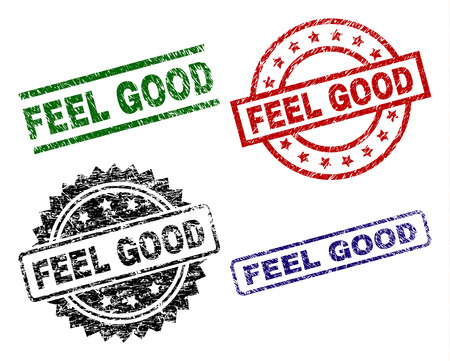 FEEL GOOD seal prints with distress surface. Black, green,red,blue vector rubber prints of FEEL GOOD caption with corroded surface. Rubber seals with round, rectangle, medal shapes. 일러스트