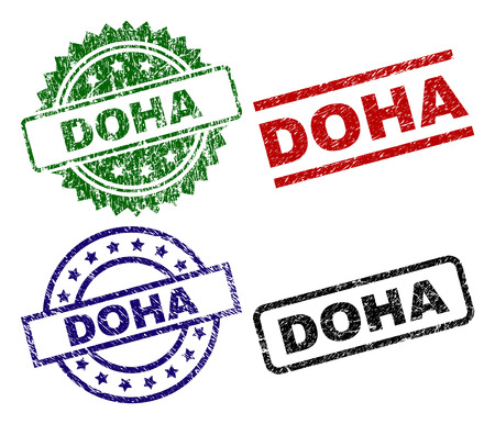 DOHA seal prints with corroded surface. Black, green,red,blue vector rubber prints of DOHA tag with grunge surface. Rubber seals with circle, rectangle, medal shapes.